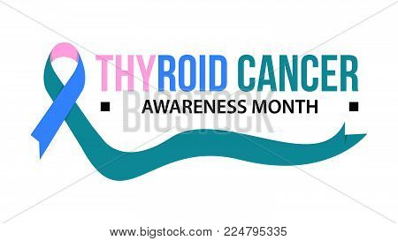 Awareness month ribbon cancer. Thyroid cancer awareness vector illustration
