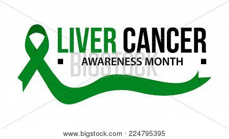 Awareness month ribbon cancer. Liver cancer awareness vector illustration