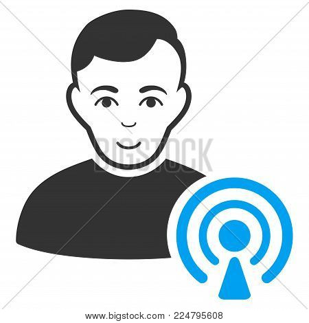 Podcast Creator vector pictogram. Flat bicolor pictogram designed with blue and gray. Human face has cheerful emotion.