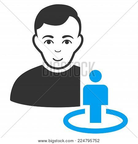 Portal Moderator vector pictogram. Flat bicolor pictogram designed with blue and gray. Human face has glad emotions.