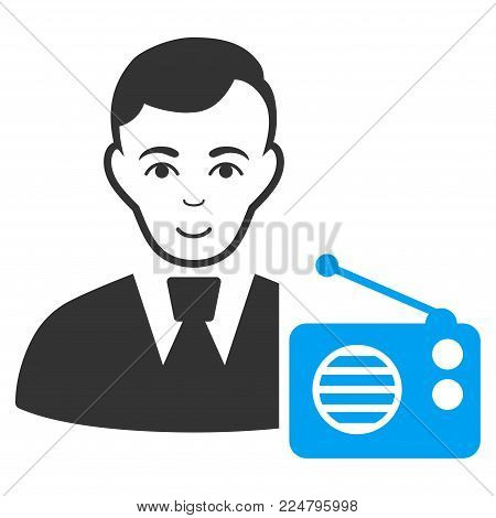 Radio Dictor vector pictogram. Flat bicolor pictogram designed with blue and gray. Human face has gladness expression.