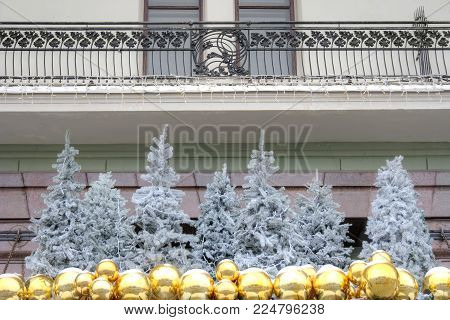 MOSCOW, RUSSIA - January 13.2018: Hotel Metropol at the Revolution square in the city centre. Christmas tree