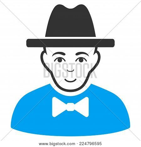 Spy vector pictograph. Flat bicolor pictogram designed with blue and gray. Person face has cheerful emotion.