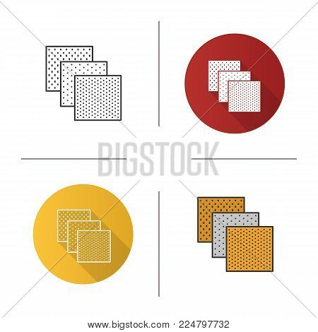 Emery paper icon. Flat design, linear and color styles. Abrasive paper. Isolated vector illustrations