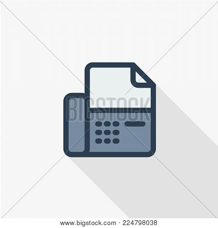 telephone fax, office phone thin line flat icon. Linear vector illustration. Pictogram isolated on white background. Colorful long shadow design