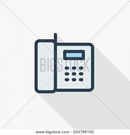 telephone, office phone thin line flat icon. Linear vector illustration. Pictogram isolated on white background. Colorful long shadow design.fog