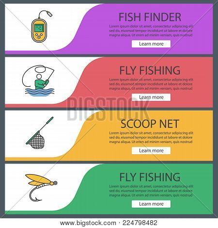 Fishing web banner templates set. Fly fishing, echo sounder, landing net, insect lure. Website color menu items. Vector headers design concepts