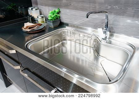 Angle View Of Kitchen Sink With Silver Faucet In Kitchen Room, Modern Counter With Sink In Kitchen R