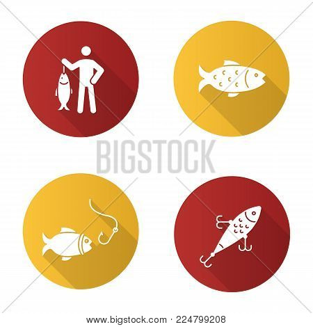 Fishing flat design long shadow glyph icons set. Fisherman, lure, fish and hook. Vector silhouette illustration