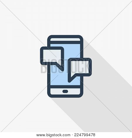 smartphone, mobile phone thin line flat color icon. Linear vector illustration. Pictogram isolated on white background. Colorful long shadow design with message, chat, speech bubble, talk, dialog