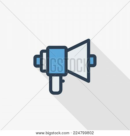 megaphone, speaker, broadcast, share thin line flat icon. Linear vector illustration. Pictogram isolated on white background. Colorful long shadow design.