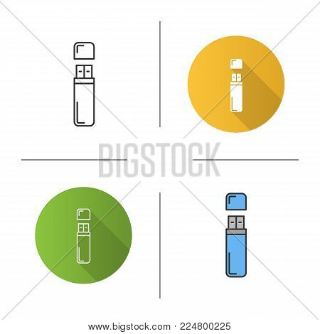 USB flash drive icon. Flat design, linear and color styles. Memory stick. Isolated vector illustrations