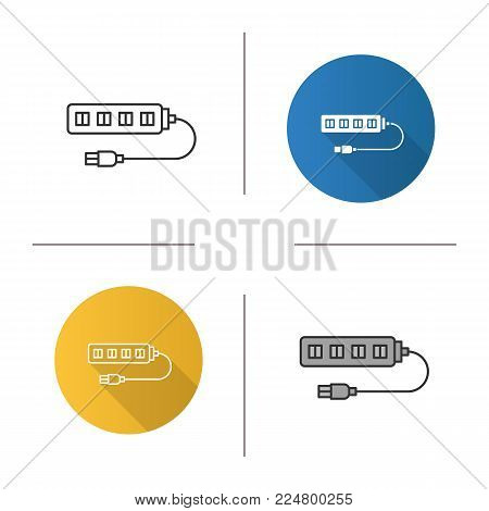 USB hub icon. Flat design, linear and color styles. Multi plug. Isolated vector illustrations
