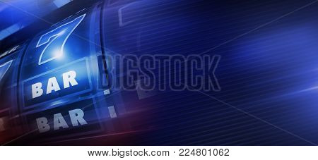 Cool Blue Slot Machine Banner Background. One Handed Bandit 3D Rendered Illustration with Copy Space. Casino Gambling Backdrop.