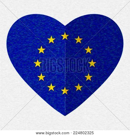 Watercolor flag of European Union in the shape of Heart, flat style, symbol of love for his country, patriotism, icon for Independence Day.