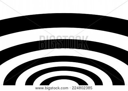 Abstract striped concentric - black and white background, Ellipse pattern,