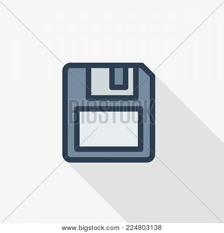 save data, diskette thin line flat color icon. Linear vector illustration. Pictogram isolated on white background. Colorful long shadow design.
