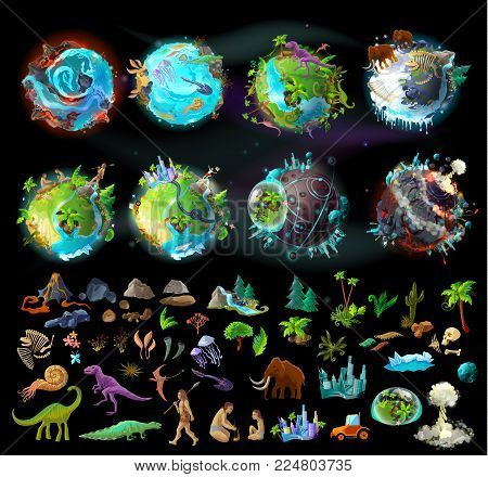 Stages of Earth evolution, vector cartoon creation set with various colorful icons, plants, animals, rocks, dinosaurs. Timeline, the origin of life and death, elements for infographic and game design