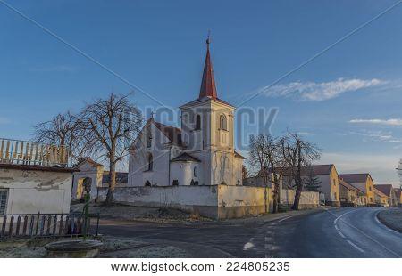 Dubany village in cold sunny winter morning in north Bohemia