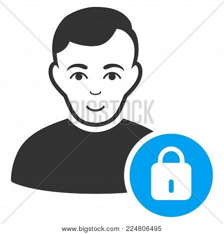 User Lock vector icon. Flat bicolor pictogram designed with blue and gray. Person face has happiness sentiment.