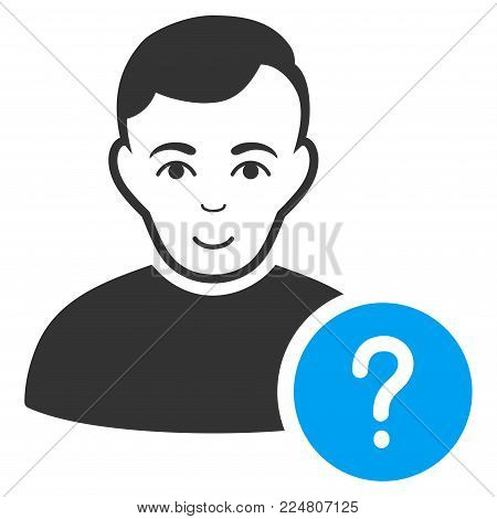 User Status vector pictograph. Flat bicolor pictogram designed with blue and gray. Human face has happiness sentiment.