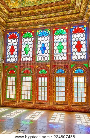 Shiraz, Iran - October 12, 2017: The Beautiful Stained Glass Windows In Chamber Of Qavam House Of Na