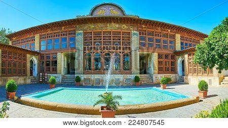 Shiraz, Iran - October 12, 2017: Panorama Of Zinat Ol-molk Mansion, Decorated With Tile Ornaments, C
