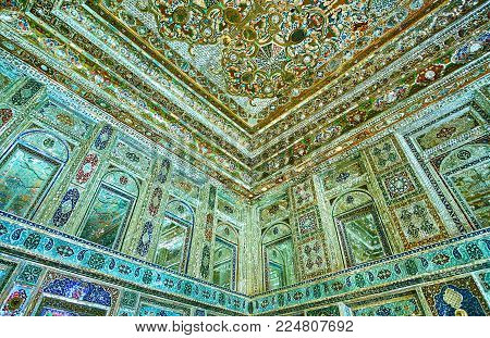 Shiraz, Iran - October 12, 2017: The Details Of Rich Decor In Mirror Hall Of Zinat Ol-molk Mansion,