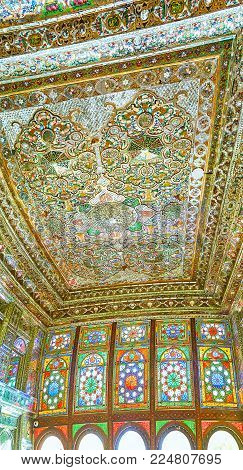 Shiraz, Iran - October 12, 2017: Panorama Of Mirror Hall  In Zinat Ol-molk Mansion With Stained-glas