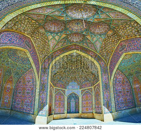 Shiraz, Iran - October 12, 2017: Panorama Of The Summer Mosque Of    Nasir Ol-molk With Scenic Tiled