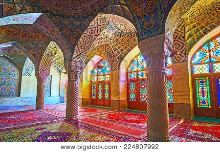 Shiraz, Iran - October 12, 2017: The Winter Hall Of Nasir Ol-molk Mosque Boasts Outstanding Decorati