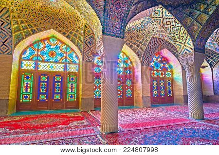 Shiraz, Iran - October 12, 2017: Interior Of Nasir Ol-molk Mosque Is Famous For Its Scenic Stained G