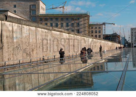 Berlin, Germany - January 2018: People at the Berlin Wall Memorial in Berlin, Germany