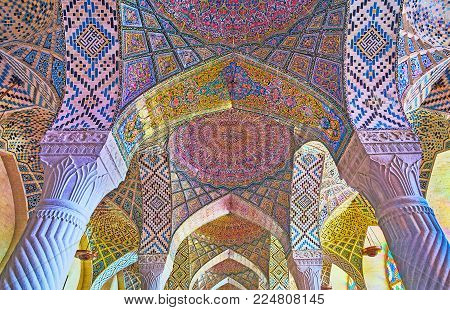 Shiraz, Iran - October 12, 2017: The Complex Vault Of Pink Mosque (nasir Ol-molk) With Perfect Tiled