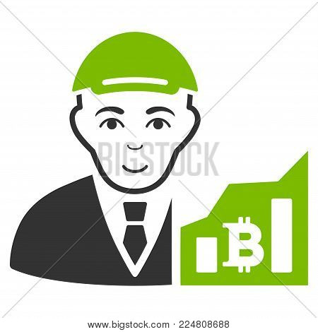 Bitcoin Trader vector flat pictograph. Person face has positive expression. A boy dressed with a cap.