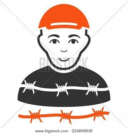 Camp Prisoner vector flat pictogram. Human face has joy emotions. A dude in a cap.