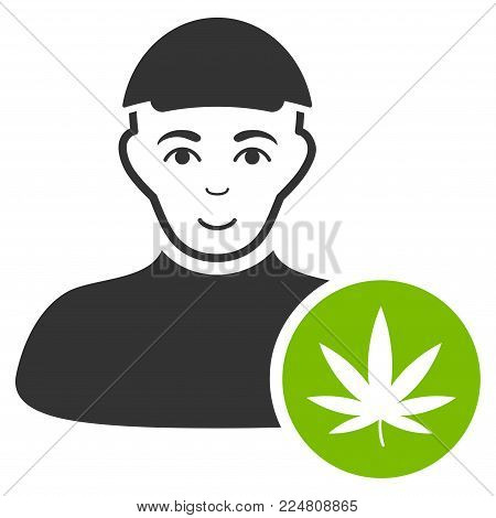 Cannabis Dealer vector flat icon. Human face has joy emotion. A dude with a cap.