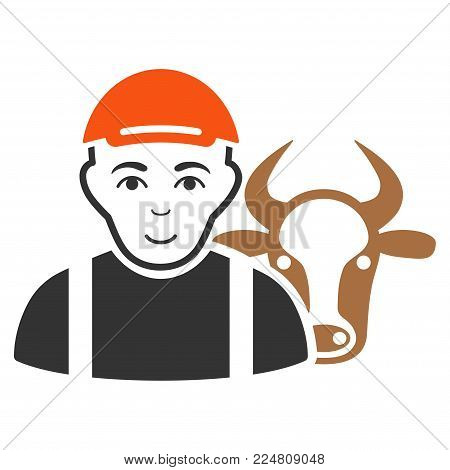 Cow Farmer vector flat icon. Person face has joyful emotions. A boy with a cap.