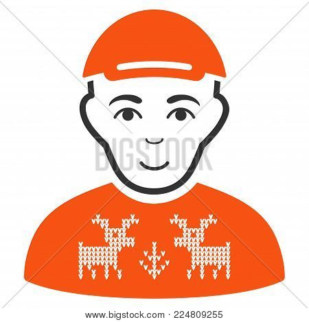 Geek vector flat pictogram. Person face has cheerful feeling. A boy dressed with a cap.
