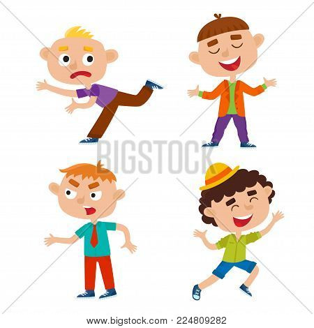 Color vector set of kids in varioses poses isolated on white background. Happy jumping hipster kid.  Running boy. Angry stylish boy. Laughing boy. Cartoon children used for child books, stickers, posters.
