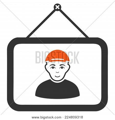 Guy Portrait vector flat icon. Human face has cheerful mood. A guy with a cap.