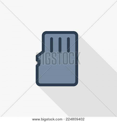 Flash memory SD card thin line flat color icon. Linear vector illustration. Pictogram isolated on white background. Colorful long shadow design.