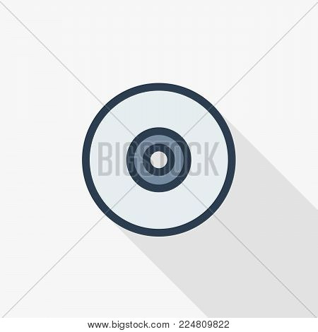 compact disk thin line flat color icon. Linear vector illustration. Pictogram isolated on white background. Colorful long shadow design.