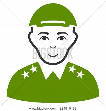 Officer vector flat icon. Person face has cheerful expression. A man with a cap.