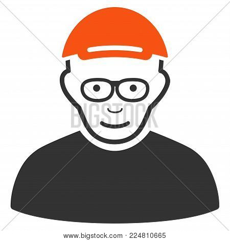 Pensioner vector flat pictograph. Human face has joy feeling. A person dressed with a cap.