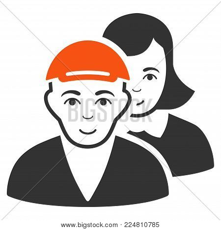 People Pair vector flat pictogram. Person face has positive mood. A male person in a cap.
