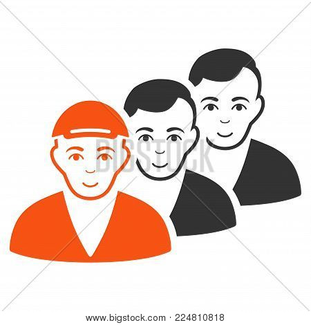 People Queue vector flat icon. Human face has happiness mood. A guy in a cap.