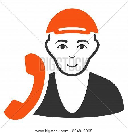 Receptionist Guy vector flat pictograph. Person face has cheerful emotions. A dude dressed with a cap.