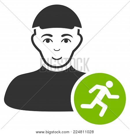Running Man vector flat icon. Person face has smiling emotion. A guy in a cap.