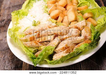caesar salad- chicken,parmesan and crouton salad